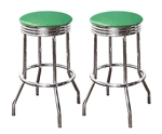 "Bar Stools 24"" Tall Set of 2 Chrome Retro Style Backless Stools with Green Glitter Vinyl Covered Swivel Seat Cushions"