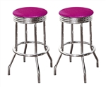"Bar Stools 24"" Tall Set of 2 Chrome Retro Style Backless Stools with Hot Pink Glitter Vinyl Covered Swivel Seat Cushions"