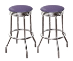"Bar Stools 24"" Tall Set of 2 Chrome Retro Style Backless Stools with Lavender Glitter Vinyl Covered Swivel Seat Cushions"