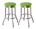 "Bar Stools 24"" Tall Set of 2 Chrome Retro Style Backless Stools with Lime Green Glitter Vinyl Covered Swivel Seat Cushions"