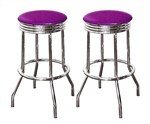 "Bar Stools 24"" Tall Set of 2 Chrome Retro Style Backless Stools with Purple Glitter Vinyl Covered Swivel Seat Cushions"