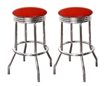 "Bar Stools 24"" Tall Set of 2 Chrome Retro Style Backless Stools with Red Glitter Vinyl Covered Swivel Seat Cushions"