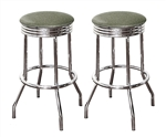 "Bar Stools 24"" Tall Set of 2 Chrome Retro Style Backless Stools with Silver Glitter Vinyl Covered Swivel Seat Cushions"