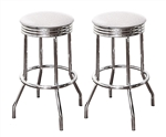 "Bar Stools 24"" Tall Set of 2 Chrome Retro Style Backless Stools with White Glitter Vinyl Covered Swivel Seat Cushions"