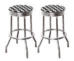 "Bar Stools Set of 2 - 29"" Tall Chrome Finish Retro Style Backless Stools Featuring Nascar Checkered Flag Racing Theme Fabric Covered Swivel Seat Cushions with a Clear Vinyl Cover"