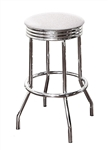 "Bar Stools Set of 3 - 24"" Tall Chrome Finish Retro Style Backless Stool with an White Glitter Vinyl Covered Swivel Seat Cushion"