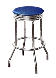 "Bar Stools Set of 3 - 29"" Tall Chrome Finish Retro Style Backless Stool with an Blue Glitter Vinyl Covered Swivel Seat Cushion"