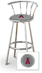 "Bar Stool 29"" Tall Chrome Finish Stool with a Backrest Featuring the Anaheim Angels MLB Team Logo Decal on a Grey Vinyl Covered Swivel Seat Cushion"