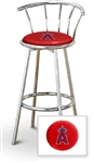 "Bar Stool 29"" Tall Chrome Finish Stool with a Backrest Featuring the Anaheim Angels MLB Team Logo Decal on a Red Vinyl Covered Swivel Seat Cushion"
