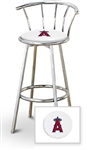 "Bar Stool 29"" Tall Chrome Finish Stool with a Backrest Featuring the Anaheim Angels MLB Team Logo Decal on a White Vinyl Covered Swivel Seat Cushion"
