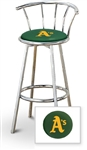 "Bar Stool 29"" Tall Chrome Finish Stool with a Backrest Featuring the Oakland A's MLB Team Logo Decal on a Green Vinyl Covered Swivel Seat Cushion"