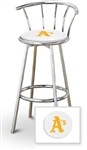 "Bar Stool 29"" Tall Chrome Finish Stool with a Backrest Featuring the Oakland A's MLB Team Logo Decal on a White Vinyl Covered Swivel Seat Cushion"