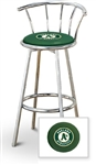 "Bar Stool 29"" Tall Chrome Finish Stool with a Backrest Featuring the Oakland Athletics MLB Team Logo Decal on a Green Vinyl Covered Swivel Seat Cushion"