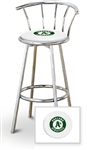 "Bar Stool 29"" Tall Chrome Finish Stool with a Backrest Featuring the Oakland Athletics MLB Team Logo Decal on a White Vinyl Covered Swivel Seat Cushion"