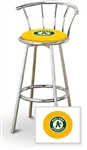 "Bar Stool 29"" Tall Chrome Finish Stool with a Backrest Featuring the Oakland Athletics MLB Team Logo Decal on a Yellow Vinyl Covered Swivel Seat Cushion"