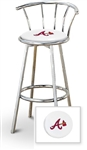 "Bar Stool 29"" Tall Chrome Finish Stool with a Backrest Featuring the Atlanta Braves MLB Team Logo Decal on a White Vinyl Covered Swivel Seat Cushion"