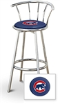 "Bar Stool 29"" Tall Chrome Finish Stool with a Backrest Featuring the Chicago Cubs MLB Team Logo Decal on a Blue Vinyl Covered Swivel Seat Cushion"