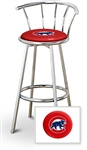 "Bar Stool 29"" Tall Chrome Finish Stool with a Backrest Featuring the Chicago Cubs MLB Team Logo Decal on a Red Vinyl Covered Swivel Seat Cushion"