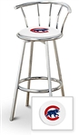 "Bar Stool 29"" Tall Chrome Finish Stool with a Backrest Featuring the Chicago Cubs MLB Team Logo Decal on a White Vinyl Covered Swivel Seat Cushion"