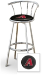 "Bar Stool 29"" Tall Chrome Finish Stool with a Backrest Featuring the Arizona Diamondbacks MLB Team Logo Decal on a Black Vinyl Covered Swivel Seat Cushion"