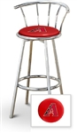 "Bar Stool 29"" Tall Chrome Finish Stool with a Backrest Featuring the Arizona Diamondbacks MLB Team Logo Decal on a Red Vinyl Covered Swivel Seat Cushion"