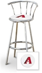 "Bar Stool 29"" Tall Chrome Finish Stool with a Backrest Featuring the Arizona Diamondbacks MLB Team Logo Decal on a White Vinyl Covered Swivel Seat Cushion"
