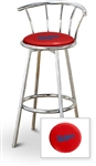 "Bar Stool 29"" Tall Chrome Finish Stool with a Backrest Featuring the Los Angeles Dodgers MLB Team Logo Decal on a Red Vinyl Covered Swivel Seat Cushion"