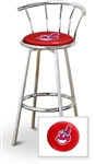 "Bar Stool 29"" Tall Chrome Finish Stool with a Backrest Featuring the Cleveland Indians MLB Team Logo Decal on a Red Vinyl Covered Swivel Seat Cushion"