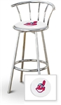 "Bar Stool 29"" Tall Chrome Finish Stool with a Backrest Featuring the Cleveland Indians MLB Team Logo Decal on a White Vinyl Covered Swivel Seat Cushion"