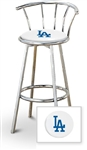 "1 - 29"" Chrome Finish Bar Stool with backrest Featuring the LA Dodgers MLB Team Logo Decal on a White Vinyl Covered Seat Cushion"