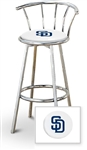 "Bar Stool 29"" Tall Chrome Finish Stool with a Backrest Featuring the San Diego Padres MLB Team Logo Decal on a White Vinyl Covered Swivel Seat Cushion"