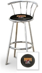 "Bar Stool 29"" Tall Chrome Finish Stool with a Backrest Featuring the Pittsburgh Pirates MLB Team Logo Decal on a Black Vinyl Covered Swivel Seat Cushion"
