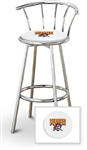 "Bar Stool 29"" Tall Chrome Finish Stool with a Backrest Featuring the Pittsburgh Pirates MLB Team Logo Decal on a White Vinyl Covered Swivel Seat Cushion"