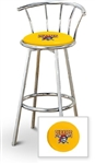 "Bar Stool 29"" Tall Chrome Finish Stool with a Backrest Featuring the Pittsburgh Pirates MLB Team Logo Decal on a Yellow Vinyl Covered Swivel Seat Cushion"