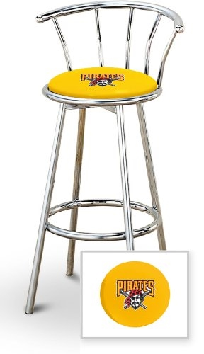 Groovy 1 29 Chrome Finish Bar Stool With Backrest Featuring The Pittsburgh Pirates Mlb Team Logo Decal On A Yellow Vinyl Covered Seat Cushion Squirreltailoven Fun Painted Chair Ideas Images Squirreltailovenorg