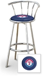 "Bar Stool 29"" Tall Chrome Finish Stool with a Backrest Featuring the Texas Rangers MLB Team Logo Decal on a Blue Vinyl Covered Swivel Seat Cushion"