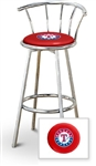 "Bar Stool 29"" Tall Chrome Finish Stool with a Backrest Featuring the Texas Rangers MLB Team Logo Decal on a Red Vinyl Covered Swivel Seat Cushion"