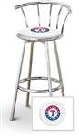 "Bar Stool 29"" Tall Chrome Finish Stool with a Backrest Featuring the Texas Rangers MLB Team Logo Decal on a White Vinyl Covered Swivel Seat Cushion"