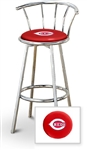 "1 - 29"" Chrome Finish Bar Stool with backrest Featuring the Cincinnati Reds MLB Team Logo Decal on a Red Vinyl Covered Seat Cushion"