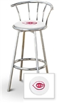 "Bar Stool 29"" Tall Chrome Finish Stool with a Backrest Featuring the Cincinnati Reds MLB Team Logo Decal on a White Vinyl Covered Swivel Seat Cushion"