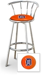 "Bar Stool 29"" Tall Chrome Finish Stool with a Backrest Featuring the Detroit Tigers MLB Team Logo Decal on an Orange Vinyl Covered Swivel Seat Cushion"