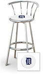 "Bar Stool 29"" Tall Chrome Finish Stool with a Backrest Featuring the Detroit Tigers MLB Team Logo Decal on a White Vinyl Covered Swivel Seat Cushion"