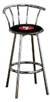 "1 - 29"" Chrome Finish Bar Stool with Backrest Featuring the San Francisco 49er's NFL Team Logo Decal on a Black Vinyl Covered Seat Cushion"