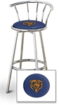 "1 - 29"" Chrome Finish Bar Stool with Backrest Featuring the Chicago Bears NFL Team Logo Decal on a Blue Vinyl Covered Seat Cushion"