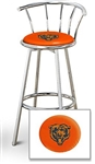 "1 - 29"" Chrome Finish Bar Stool with Backrest Featuring the Chicago Bears NFL Team Logo Decal on a Orange Vinyl Covered Seat Cushion"