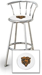 "1 - 29"" Chrome Finish Bar Stool with Backrest Featuring the Chicago Bears NFL Team Logo Decal on a White Vinyl Covered Seat Cushion"