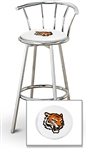 "1 - 29"" Chrome Finish Bar Stool with Backrest Featuring the Cincinnati Bengals Face NFL Team Logo Decal on a White Vinyl Covered Seat Cushion"