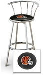 "1 - 29"" Chrome Finish Bar Stool with Backrest Featuring the Cincinnati Bengals Helmet NFL Team Logo Decal on a Black Vinyl Covered Seat Cushion"