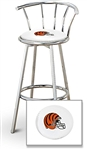 "1 - 29"" Chrome Finish Bar Stool with Backrest Featuring the Cincinnati Bengals Helmet NFL Team Logo Decal on a White Vinyl Covered Seat Cushion"