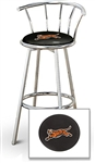 "1 - 29"" Chrome Finish Bar Stool with Backrest Featuring the Cincinnati Bengals Tiger NFL Team Logo Decal on a Black Vinyl Covered Seat Cushion"